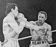 Boxing Drawings - Hearns and Roldan by Mark Beach