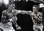 Michael Pattison Prints - Hearns vs. Leonard Print by Michael  Pattison