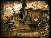 Wooden Wagons Digital Art Framed Prints - Hearse Poster Framed Print by Crystal Loppie