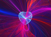 Fractal Designs Prints - Heart and Swirls Print by Sandy Keeton