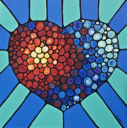 Engagement Paintings - Heart Art - Love Conquers All 2  by Sharon Cummings