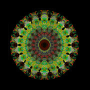 Green Chakra Prints - Heart Aura - Mandala Art By Sharon Cummings Print by Sharon Cummings