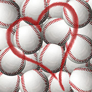 Baseball Art Posters - Heart Baseballs Poster by Andee Photography