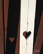Old Mixed Media Metal Prints - Heart Fence Shadow  Metal Print by Shari Warren
