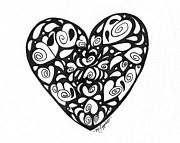 Season Art Drawings Posters - Heart Full Of Love Poster by Minnie Lippiatt