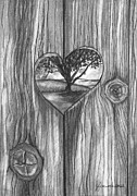 Tree Art Print Drawings Framed Prints - Heart In The Fence Framed Print by J Ferwerda