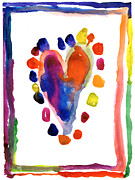 Purple Heart Painting Posters - Heart Poster by Kasey Hutcheson Age Seven