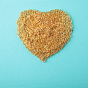 Gold Necklace Prints - Heart made with gold chain wood texture Print by Ekaterina Planina
