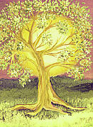 First Love Painting Prints - Heart of Gold Tree by jrr Print by First Star Art