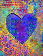 Color Mixed Media Prints - Heart of Hearts series - Compassion Print by Moon Stumpp