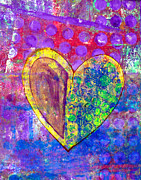 Folk Art Mixed Media - Heart of Hearts series - Discovery by Moon Stumpp