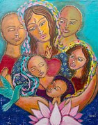 Sacred Feminine Paintings - Heart of the Family by Havi Mandell