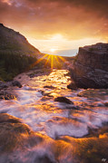 Swiftcurrent Falls Posters - Heart of the Sunrise Poster by Peter Coskun