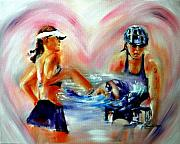 Athlete Paintings - Heart of the Triathlete by Sandy Ryan