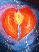 Light Of Heart Prints - Heart on Fire Print by Denise Warsalla