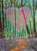 God Mixed Media Originals - Heart Portal in the Woods by R Neville Johnston