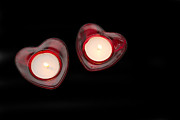 Hot Wax Prints - Heart Shaped Candles On A Black Background Print by Fizzy Image