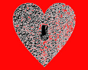 Al Powell Photography Usa Digital Art Prints - Heart Shaped Lock - Red Print by Al Powell Photography USA