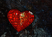Mosaic Art Mixed Media Posters - Heart - Stone Rockd Art by Sharon Cummings Poster by Sharon Cummings
