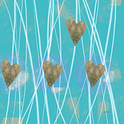 Abstract Hearts Digital Art - Heart Strings  abstract art  by Ann Powell