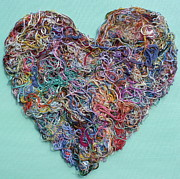 Heart String Mixed Media Prints - Heart Strings Print by Hazel Millington