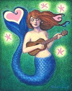 Mermaid Art Paintings - Heart Tail Mermaid by Sue Halstenberg