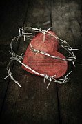 Barbed Wire Framed Prints - Heart With Barbed Wire Framed Print by Joana Kruse