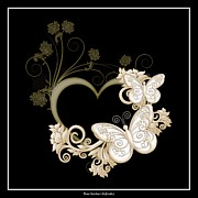 Tendrils Posters - Heart with Butterflies and Flowers on Black Poster by Rose Santuci-Sofranko