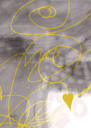 Abstract Hearts Digital Art - Heart Yellow and Gray by Ann Powell