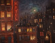 City At Night Paintings - Heartbreak Hotel by Tom Shropshire