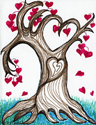 Abstract Digital Drawings Prints - Heartful Tree 4 You Print by Minnie Lippiatt