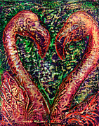 Fuschia Mixed Media Prints - Hearts Aflamingo Print by D Renee Wilson