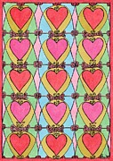 Patterned Drawings Metal Prints - Hearts ala Stained Glass Metal Print by Mag Pringle Gire