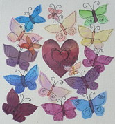 Strings Tapestries - Textiles Posters - Hearts and Butterflies Poster by Hazel Millington