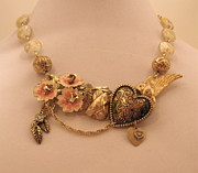 Hearts Jewelry - Hearts and Flowers Statement Necklace by Outre Art Stephanie Lubin Natalie Eisen