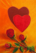 Screen Print Painting Prints - Hearts and roses say LOVE Print by Zulfiya Stromberg