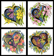 Inktense Prints - Hearts Embraced by Spring Flowers Print by Meldra Driscoll