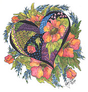 Inktense Prints - Hearts Embraced by Wild Flowers Print by Meldra Driscoll