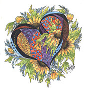 Inktense Prints - Hearts Embraced with Yellow Daisies Print by Meldra Driscoll