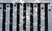 Old Mixed Media Metal Prints - Hearts Fence Metal Print by Shari Warren