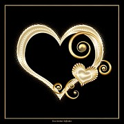 Tendrils Posters - Hearts in Gold and Ivory on Black Poster by Rose Santuci-Sofranko