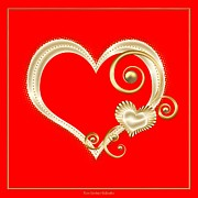 Tendrils Posters - Hearts in Gold and Ivory on Red Poster by Rose Santuci-Sofranko