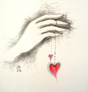Passion Drawings Posters - Hearts In Hand Poster by Marat Essex