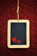 Blackboard Photos - Hearts in Slate by Carlos Caetano