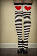 Stockings Prints - Hearts n Stripes Print by Evelina Kremsdorf