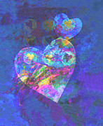 Abstract Hearts Digital Art Prints - Hearts on Blue Print by Ann Powell