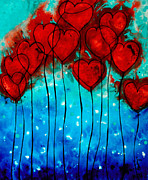 Blue Flowers Paintings - Hearts on Fire - Romantic Art By Sharon Cummings by Sharon Cummings