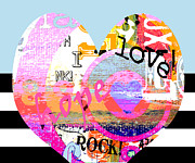 Vivid Mixed Media Framed Prints - Hearts Rock Framed Print by Anahi DeCanio
