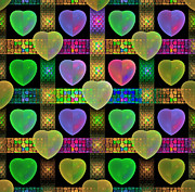 Fractal Designs Prints - Hearts Print by Sandy Keeton