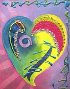 Patterns Mixed Media Prints - Heartworks Print by Debi Pople